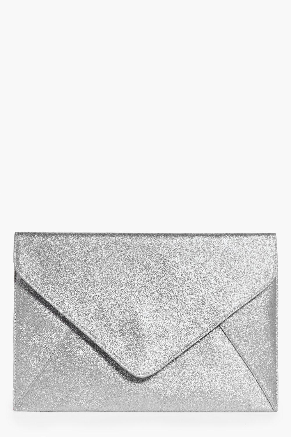 Glitter Envelope Clutch Bag Silver - predominant colour: silver; occasions: evening, occasion; type of pattern: standard; style: clutch; length: hand carry; size: standard; material: faux leather; embellishment: glitter; pattern: plain; finish: metallic; season: a/w 2016