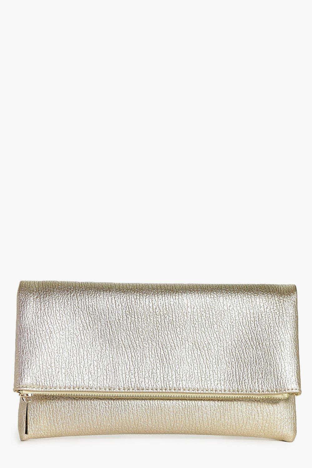 Metallic Fold Over Clutch Bag Gold - predominant colour: gold; occasions: evening, occasion; type of pattern: standard; style: clutch; length: hand carry; size: standard; material: faux leather; pattern: plain; finish: metallic; season: a/w 2016; wardrobe: event