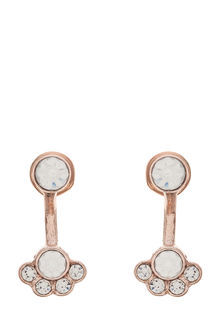Flower Under Ear Earring - predominant colour: white; occasions: evening, occasion; style: drop; length: mid; size: standard; material: chain/metal; fastening: pierced; finish: metallic; embellishment: jewels/stone; season: a/w 2016; wardrobe: event