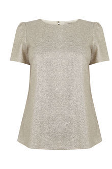 Sparkle Formal T Shirt - neckline: round neck; pattern: plain; style: t-shirt; predominant colour: gold; occasions: casual, creative work; length: standard; fibres: polyester/polyamide - stretch; fit: loose; sleeve length: short sleeve; sleeve style: standard; pattern type: fabric; texture group: jersey - stretchy/drapey; season: a/w 2016; wardrobe: highlight
