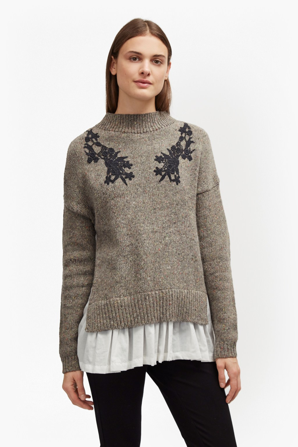 Alice Nep Knit Lace Jumper Oatmeal Melange - neckline: high neck; style: standard; predominant colour: stone; occasions: casual; length: standard; fibres: wool - mix; fit: standard fit; sleeve length: long sleeve; sleeve style: standard; texture group: knits/crochet; pattern type: knitted - other; pattern: patterned/print; embellishment: lace; season: a/w 2016; wardrobe: highlight