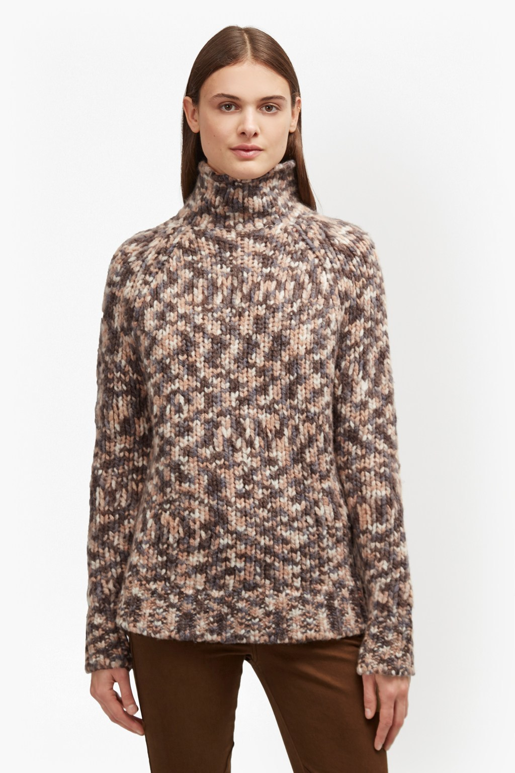 Mirabelle Knit Flecked Jumper Manuka Multi - pattern: plain; neckline: roll neck; style: standard; predominant colour: chocolate brown; occasions: casual, creative work; length: standard; fibres: wool - 100%; fit: standard fit; sleeve length: long sleeve; sleeve style: standard; texture group: knits/crochet; pattern type: knitted - fine stitch; wardrobe: basic; season: a/w 2016