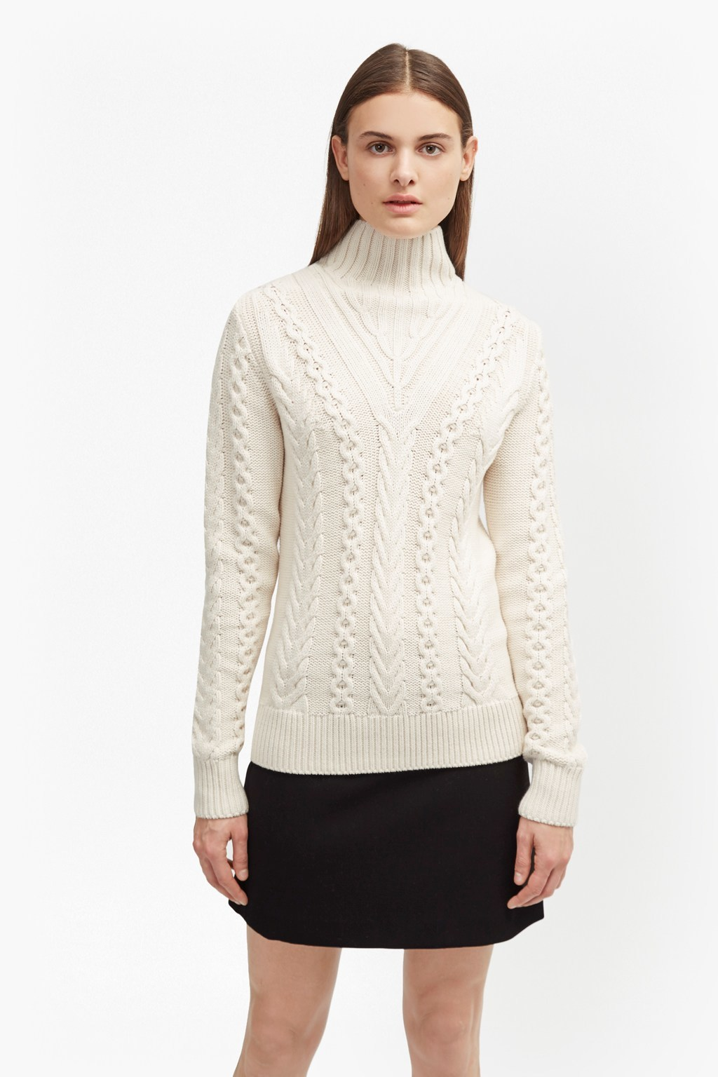 Cable Knit High Neck Jumper Classic Cream - neckline: high neck; style: standard; pattern: cable knit; predominant colour: ivory/cream; occasions: casual; length: standard; fibres: cotton - mix; fit: standard fit; sleeve length: long sleeve; sleeve style: standard; texture group: knits/crochet; pattern type: knitted - other; season: a/w 2016; wardrobe: highlight