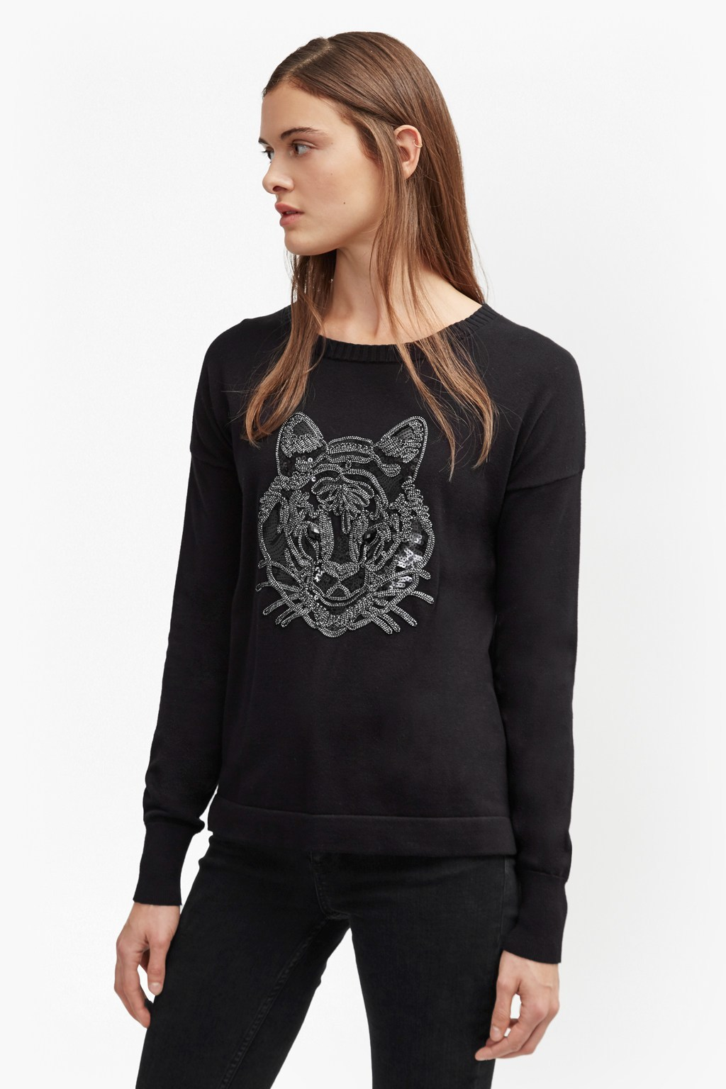 Animal Knit Tiger Sequin Jumper Black - style: standard; secondary colour: mid grey; predominant colour: black; occasions: casual; length: standard; fibres: cotton - 100%; fit: standard fit; neckline: crew; sleeve length: long sleeve; sleeve style: standard; texture group: knits/crochet; pattern type: knitted - fine stitch; pattern: patterned/print; multicoloured: multicoloured; season: a/w 2016; wardrobe: highlight