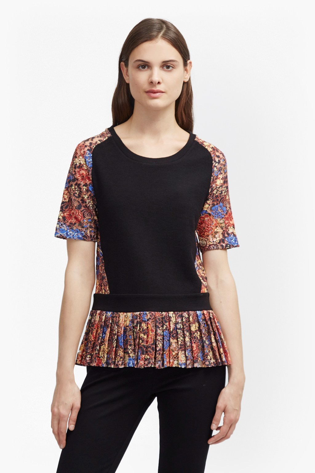 Flora Jersey Lace Top Black Multi - neckline: round neck; predominant colour: black; occasions: evening; length: standard; style: top; fibres: cotton - 100%; fit: body skimming; hip detail: subtle/flattering hip detail; sleeve length: short sleeve; sleeve style: standard; pattern type: fabric; pattern: florals; texture group: jersey - stretchy/drapey; secondary colour: dusky pink; multicoloured: multicoloured; season: a/w 2016; wardrobe: event