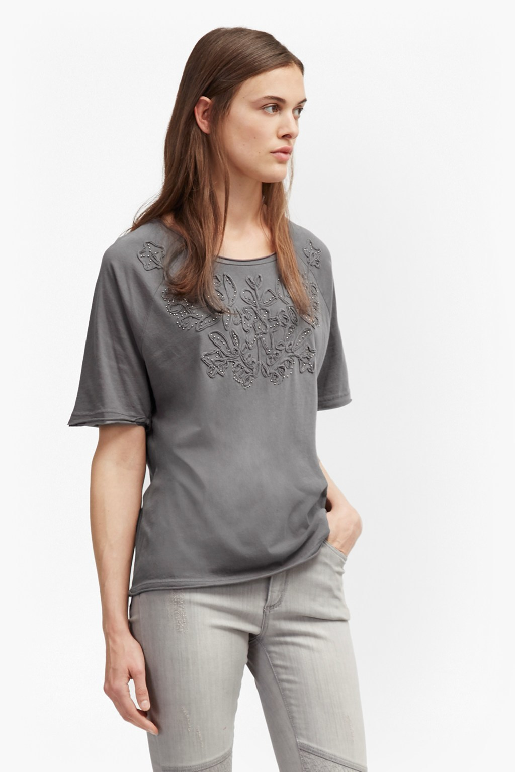 Esme Ribbon Embellished T Shirt Washed Black - neckline: round neck; style: t-shirt; predominant colour: mid grey; occasions: casual; length: standard; fibres: cotton - 100%; fit: loose; sleeve length: short sleeve; sleeve style: standard; pattern type: fabric; pattern: patterned/print; texture group: jersey - stretchy/drapey; season: a/w 2016; wardrobe: highlight