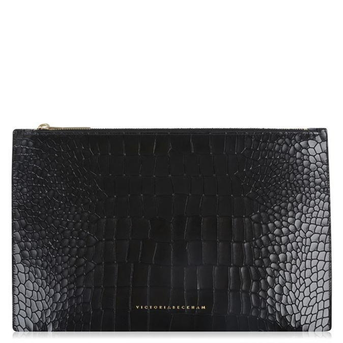 Small Simple Pouch - predominant colour: black; occasions: casual, creative work; type of pattern: standard; style: clutch; length: hand carry; size: standard; material: leather; pattern: animal print; finish: plain; season: a/w 2016; wardrobe: highlight