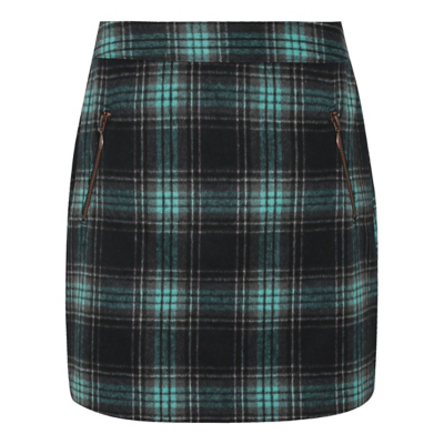 Brushed Check Print Skirt Multi - length: mid thigh; pattern: checked/gingham; style: pencil; fit: tailored/fitted; waist: mid/regular rise; predominant colour: dark green; occasions: casual, creative work; fibres: polyester/polyamide - mix; pattern type: fabric; texture group: woven light midweight; multicoloured: multicoloured; season: a/w 2016