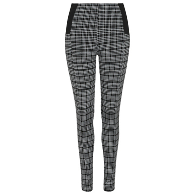 Elasticated Panel Check Print Leggings Multi - length: standard; pattern: checked/gingham; waist: high rise; predominant colour: charcoal; occasions: casual, creative work; fibres: polyester/polyamide - stretch; fit: skinny/tight leg; pattern type: fabric; texture group: woven light midweight; style: standard; season: a/w 2016; wardrobe: highlight