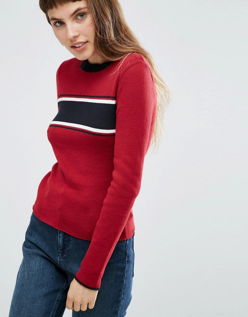 Jumper With Stripe Multi - neckline: round neck; pattern: striped; style: standard; predominant colour: true red; occasions: casual, activity; length: standard; fibres: cotton - 100%; fit: slim fit; sleeve length: long sleeve; sleeve style: standard; texture group: knits/crochet; pattern type: knitted - fine stitch; pattern size: standard; season: a/w 2016