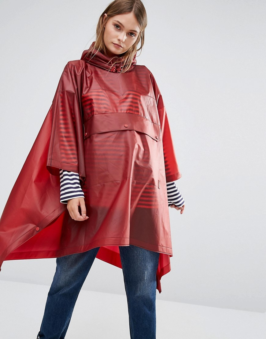 Original Vinyl Poncho Military Red - pattern: plain; length: below the bottom; collar: funnel; fit: loose; style: poncho/blanket; predominant colour: burgundy; occasions: casual; fibres: polyester/polyamide - 100%; sleeve length: 3/4 length; sleeve style: standard; texture group: technical outdoor fabrics; collar break: high; pattern type: fabric; season: a/w 2016; wardrobe: highlight
