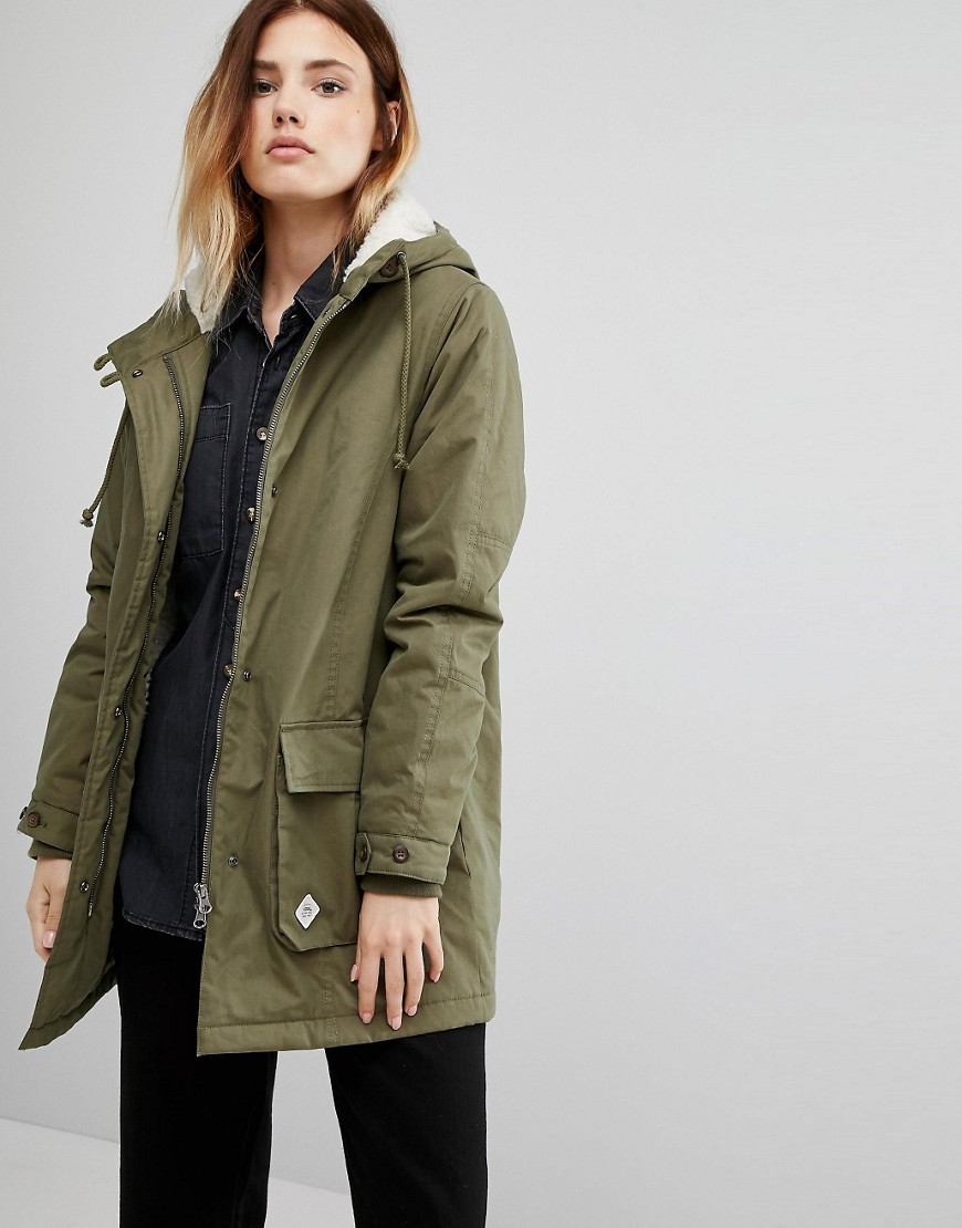 Khaki Hooded Parka Green - pattern: plain; length: below the bottom; collar: funnel; fit: loose; style: parka; back detail: hood; predominant colour: khaki; occasions: casual; fibres: cotton - mix; sleeve length: long sleeve; sleeve style: standard; texture group: cotton feel fabrics; collar break: high; pattern type: fabric; wardrobe: basic; season: a/w 2016
