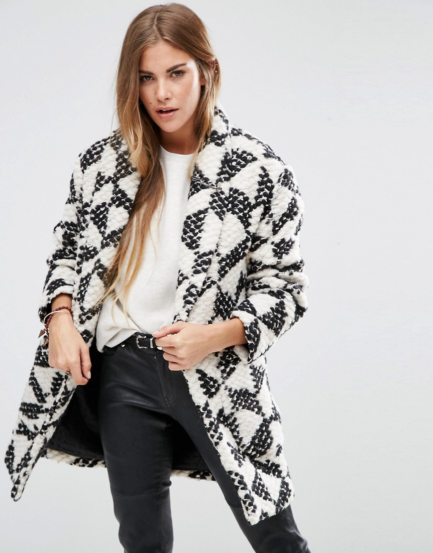 Cocoon Fit Wool Coat B Combo B - collar: shawl/waterfall; fit: loose; length: mid thigh; predominant colour: white; secondary colour: black; occasions: casual; style: cocoon; fibres: wool - mix; sleeve length: long sleeve; sleeve style: standard; collar break: low/open; pattern type: fabric; pattern: patterned/print; texture group: tweed - bulky/heavy; multicoloured: multicoloured; season: a/w 2016; wardrobe: highlight