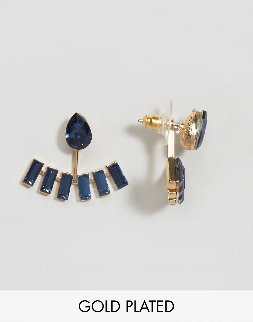 Kaycey Navy Through & Through Earrings Navy - predominant colour: navy; occasions: evening, work, occasion; style: stud; length: short; size: small/fine; material: chain/metal; fastening: pierced; finish: plain; embellishment: jewels/stone; season: a/w 2016; wardrobe: highlight
