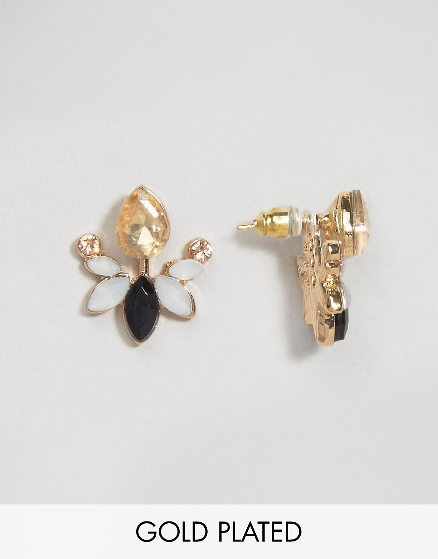Carrie Black & Opal Through & Through Earrings Black & Opal - predominant colour: gold; occasions: evening, occasion; style: stud; length: short; size: small/fine; material: chain/metal; fastening: pierced; finish: metallic; embellishment: jewels/stone; season: a/w 2016; wardrobe: event