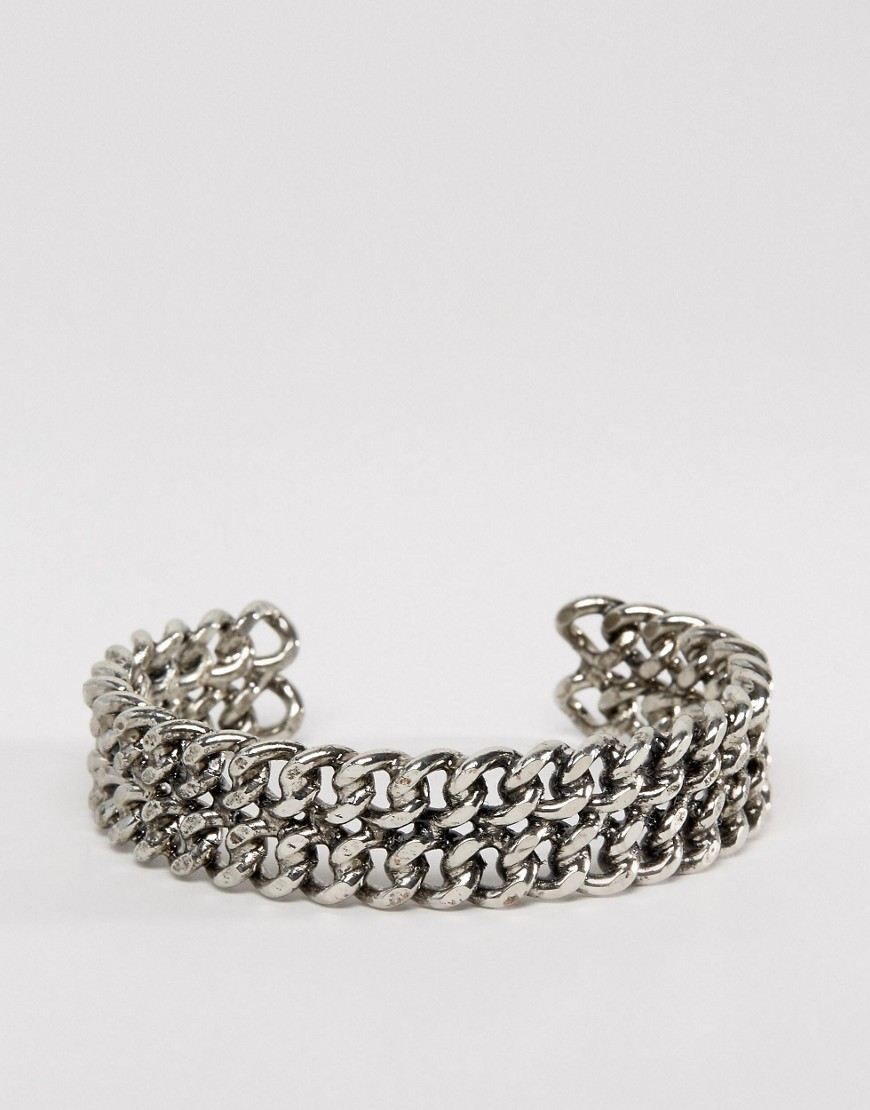 Curb Chain Cuff Bracelet Antique Rhodium - predominant colour: silver; occasions: casual; style: chain; size: standard; material: chain/metal; finish: metallic; embellishment: chain/metal; season: a/w 2016