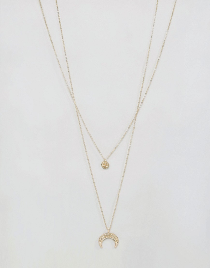 Dafny Long Layering Necklace Gold - predominant colour: gold; occasions: casual; style: multistrand; length: long; size: small/fine; material: chain/metal; finish: metallic; season: a/w 2016; wardrobe: highlight