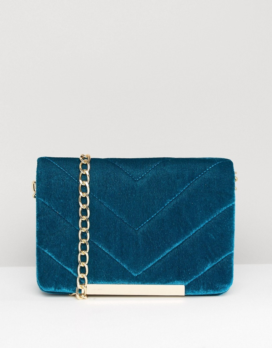 Velvet Quilted Lock Cross Body Bag Teal - predominant colour: turquoise; occasions: casual, creative work; type of pattern: standard; style: shoulder; length: across body/long; size: small; material: velvet; embellishment: quilted; pattern: plain; finish: plain; season: a/w 2016; wardrobe: highlight; trends: velvet