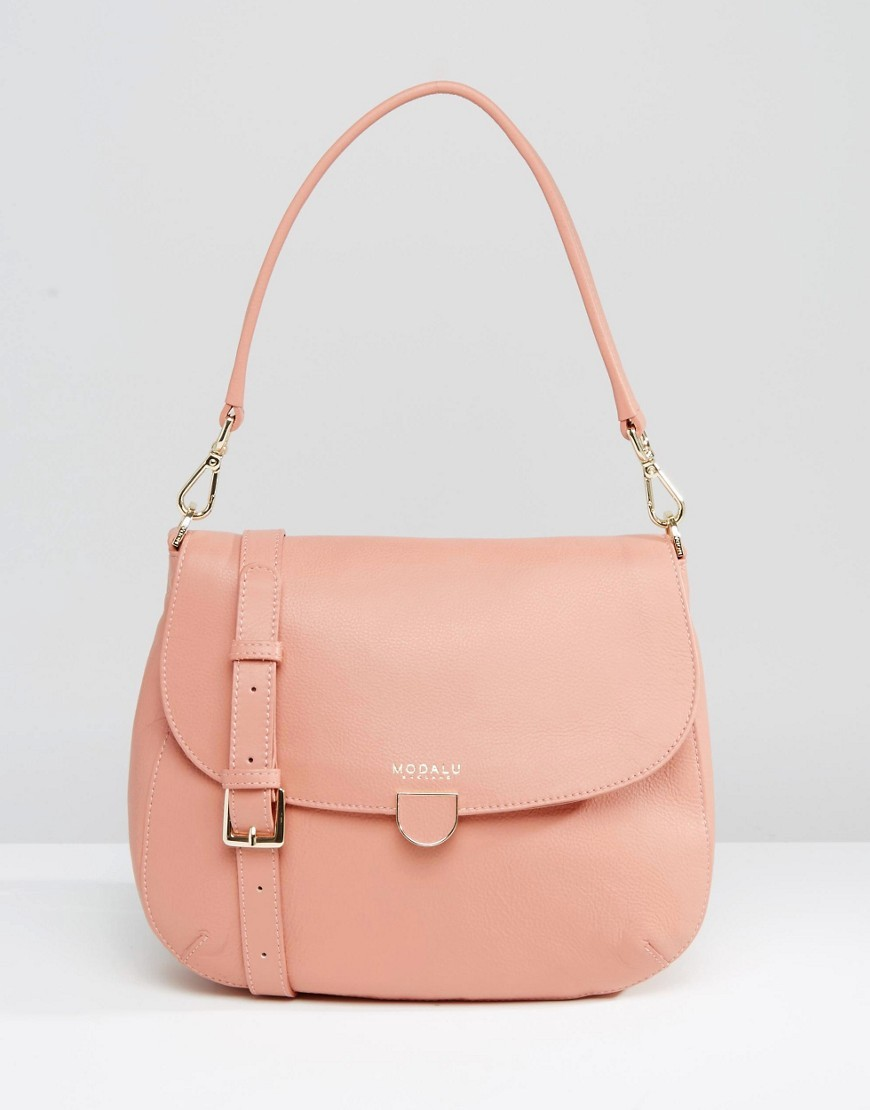 Leather Cross Body Bag Rose Pink - predominant colour: pink; occasions: casual, creative work; type of pattern: standard; style: shoulder; length: shoulder (tucks under arm); size: standard; material: leather; pattern: plain; finish: plain; season: a/w 2016; wardrobe: highlight