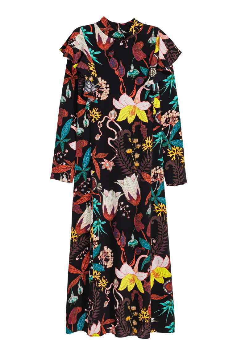 Patterned Dress - fit: loose; style: maxi dress; neckline: high neck; length: ankle length; secondary colour: teal; predominant colour: black; occasions: evening; fibres: viscose/rayon - 100%; shoulder detail: bulky shoulder detail; sleeve length: long sleeve; sleeve style: standard; pattern type: fabric; pattern: patterned/print; texture group: jersey - stretchy/drapey; multicoloured: multicoloured; season: a/w 2016; wardrobe: event