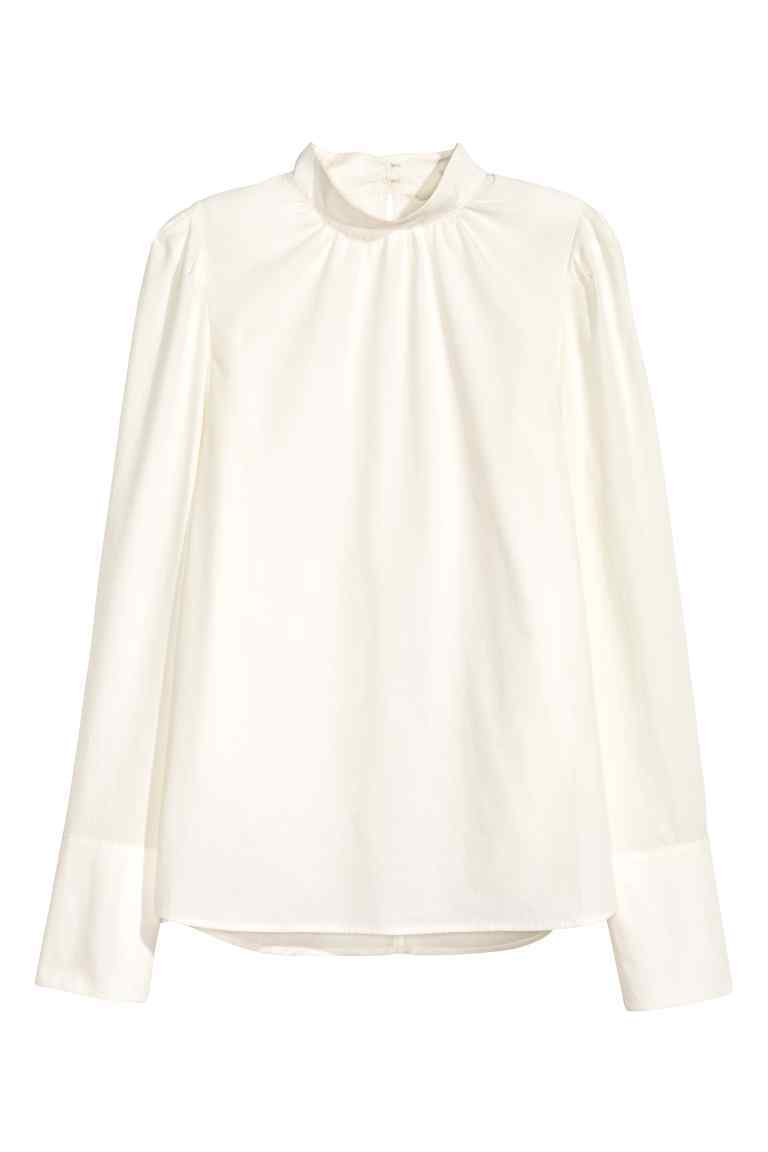 Cotton Blouse - neckline: round neck; pattern: plain; style: blouse; predominant colour: ivory/cream; occasions: work; length: standard; fibres: cotton - 100%; fit: loose; sleeve length: long sleeve; sleeve style: standard; texture group: cotton feel fabrics; pattern type: fabric; wardrobe: basic; season: a/w 2016