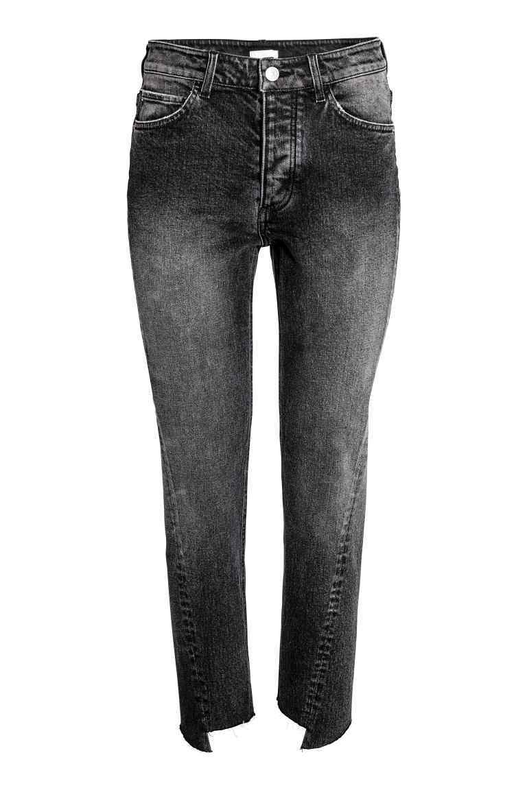 Straight Ankle Jeans - style: straight leg; pattern: plain; pocket detail: traditional 5 pocket; waist: mid/regular rise; predominant colour: black; occasions: casual, creative work; length: ankle length; fibres: cotton - mix; jeans detail: whiskering, shading down centre of thigh; texture group: denim; pattern type: fabric; wardrobe: basic; season: a/w 2016
