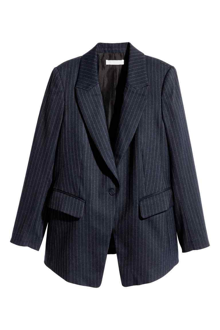 Fitted Jacket - style: single breasted blazer; length: below the bottom; pattern: pinstripe; collar: standard lapel/rever collar; predominant colour: navy; secondary colour: light grey; fit: tailored/fitted; fibres: polyester/polyamide - stretch; sleeve length: long sleeve; sleeve style: standard; collar break: low/open; pattern type: fabric; pattern size: light/subtle; texture group: woven light midweight; occasions: creative work; wardrobe: investment; season: a/w 2016