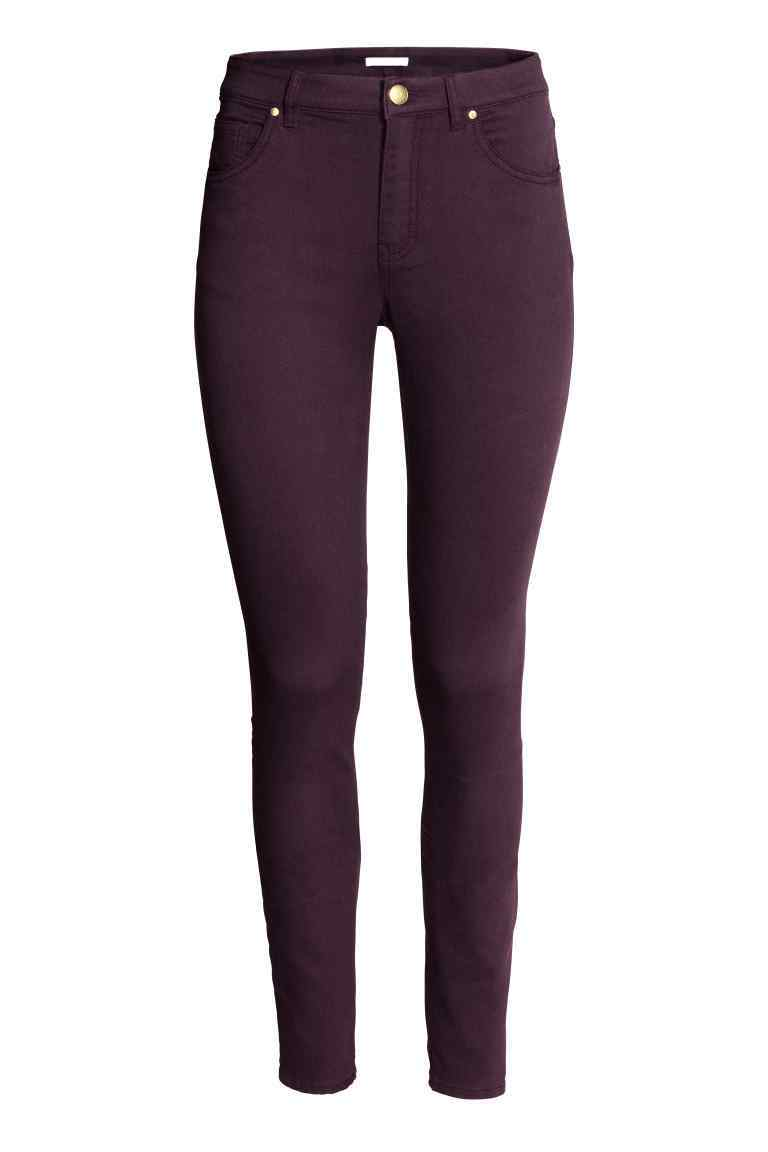 Superstretch Trousers - style: skinny leg; length: standard; pattern: plain; waist: mid/regular rise; predominant colour: aubergine; occasions: casual; fibres: cotton - stretch; texture group: denim; pattern type: fabric; season: a/w 2016; wardrobe: highlight