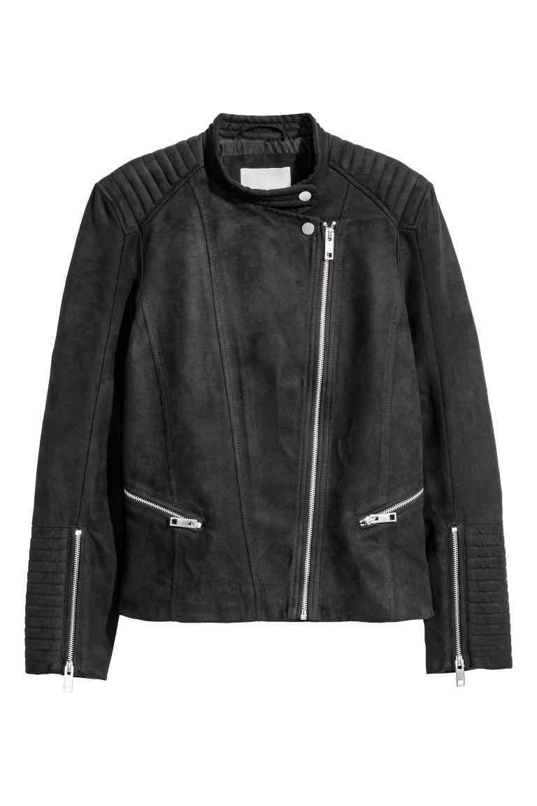 Biker Jacket - pattern: plain; style: biker; collar: asymmetric biker; predominant colour: black; occasions: casual, creative work; length: standard; fit: tailored/fitted; fibres: polyester/polyamide - 100%; sleeve length: long sleeve; sleeve style: standard; texture group: leather; collar break: high/illusion of break when open; pattern type: fabric; pattern size: standard; wardrobe: basic; season: a/w 2016