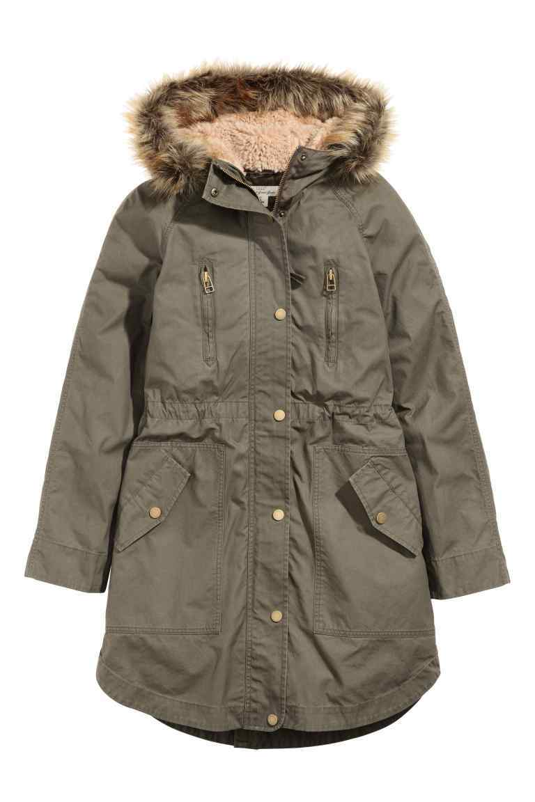 Parka With Detachable Lining - pattern: plain; collar: funnel; fit: loose; style: parka; back detail: hood; length: mid thigh; predominant colour: khaki; occasions: casual; fibres: polyester/polyamide - 100%; sleeve length: long sleeve; sleeve style: standard; texture group: technical outdoor fabrics; collar break: high; pattern type: fabric; embellishment: fur; season: a/w 2016; wardrobe: highlight
