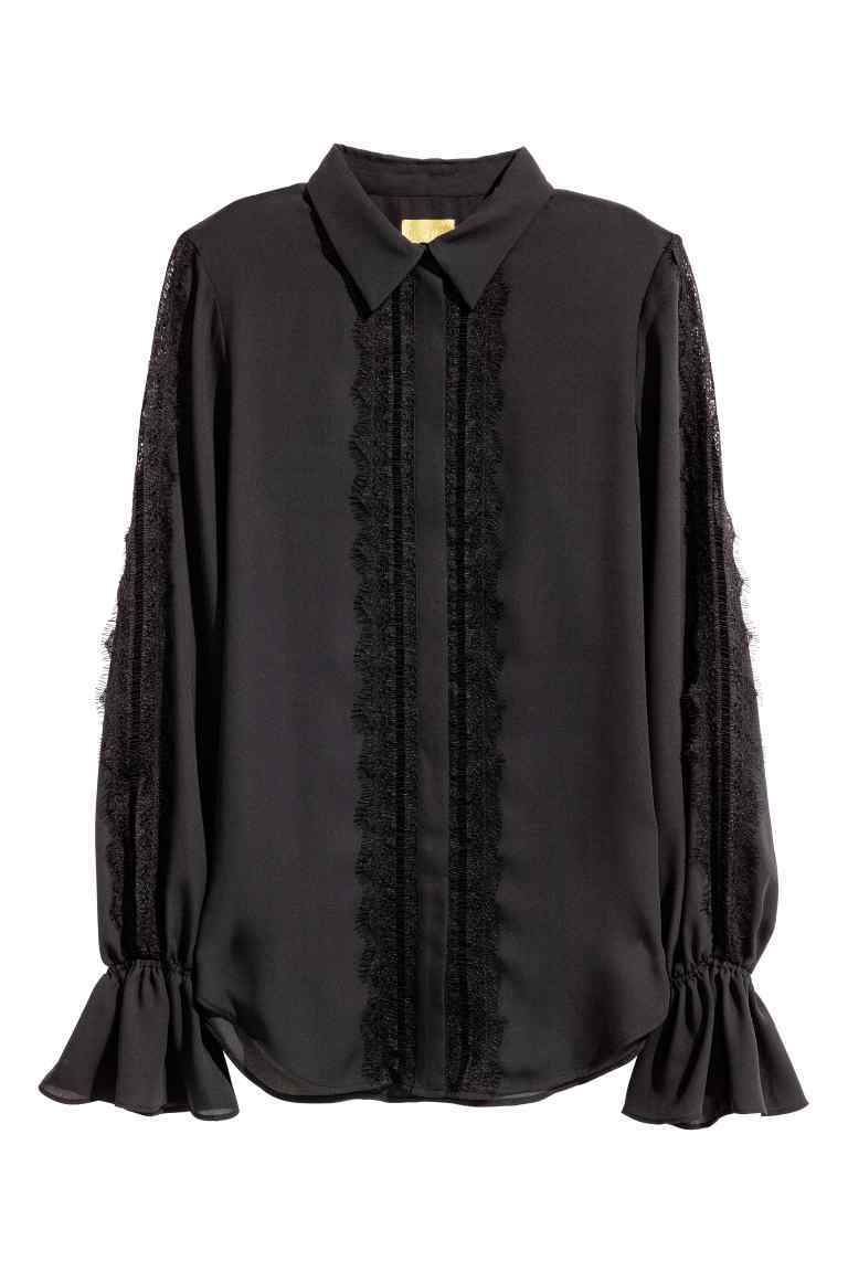 Blouse With Lace Details - neckline: shirt collar/peter pan/zip with opening; pattern: plain; length: below the bottom; style: blouse; sleeve style: trumpet; predominant colour: black; occasions: casual, work, creative work; fibres: polyester/polyamide - 100%; fit: loose; sleeve length: long sleeve; pattern type: fabric; texture group: other - light to midweight; embellishment: lace; season: a/w 2016; wardrobe: highlight