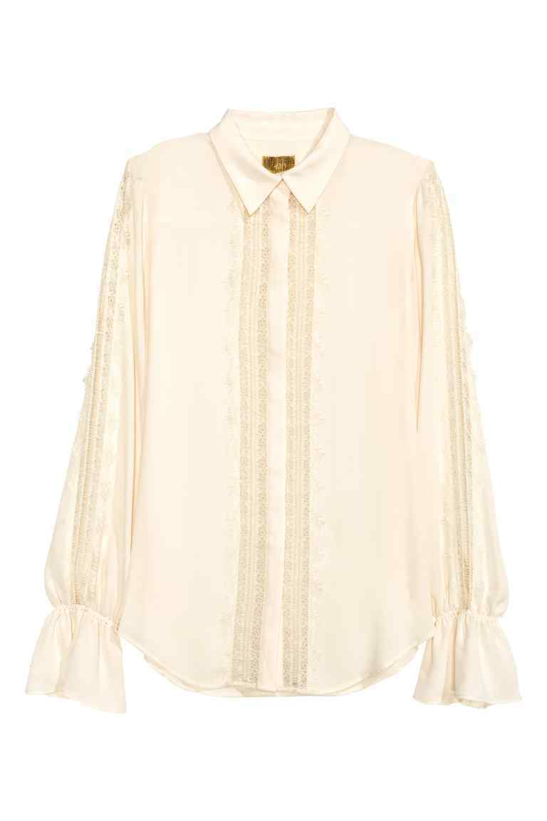 Blouse With Lace Details - neckline: shirt collar/peter pan/zip with opening; pattern: plain; style: blouse; sleeve style: trumpet; predominant colour: ivory/cream; occasions: casual, work, creative work; length: standard; fibres: polyester/polyamide - 100%; fit: loose; sleeve length: long sleeve; pattern type: fabric; texture group: other - light to midweight; embellishment: lace; season: a/w 2016; wardrobe: highlight