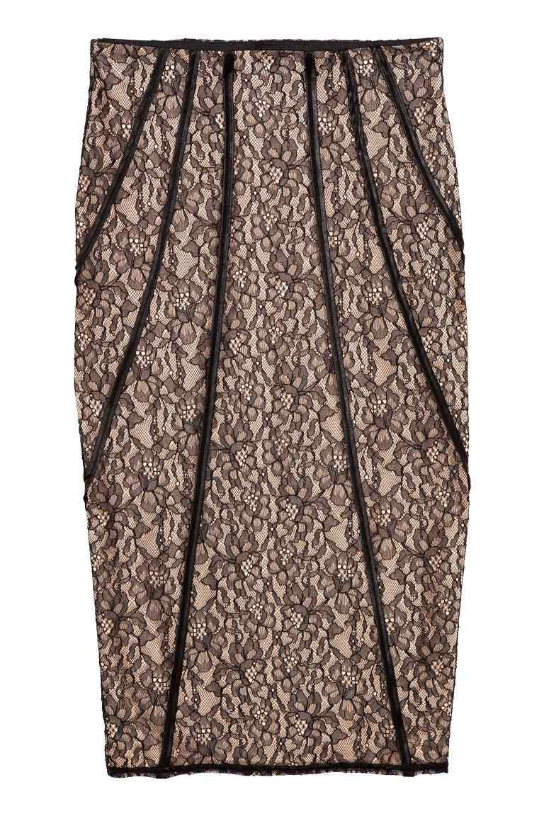 Lace Pencil Skirt - style: pencil; fit: tailored/fitted; waist: high rise; secondary colour: nude; predominant colour: black; occasions: evening; length: on the knee; fibres: polyester/polyamide - 100%; texture group: lace; pattern type: fabric; pattern: patterned/print; pattern size: standard (bottom); season: a/w 2016; wardrobe: event