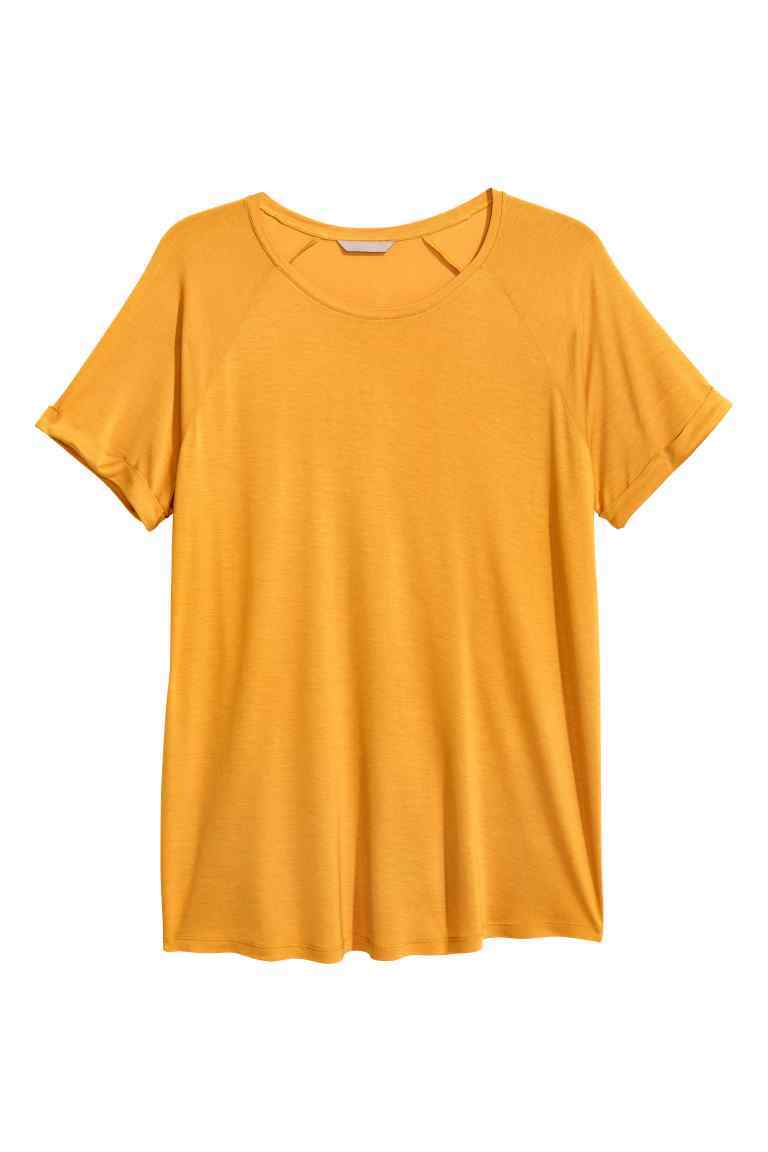 + Short Sleeved Top - neckline: round neck; pattern: plain; length: below the bottom; predominant colour: mustard; occasions: casual, creative work; style: top; fibres: viscose/rayon - 100%; fit: loose; sleeve length: short sleeve; sleeve style: standard; pattern type: fabric; texture group: jersey - stretchy/drapey; season: a/w 2016; wardrobe: highlight