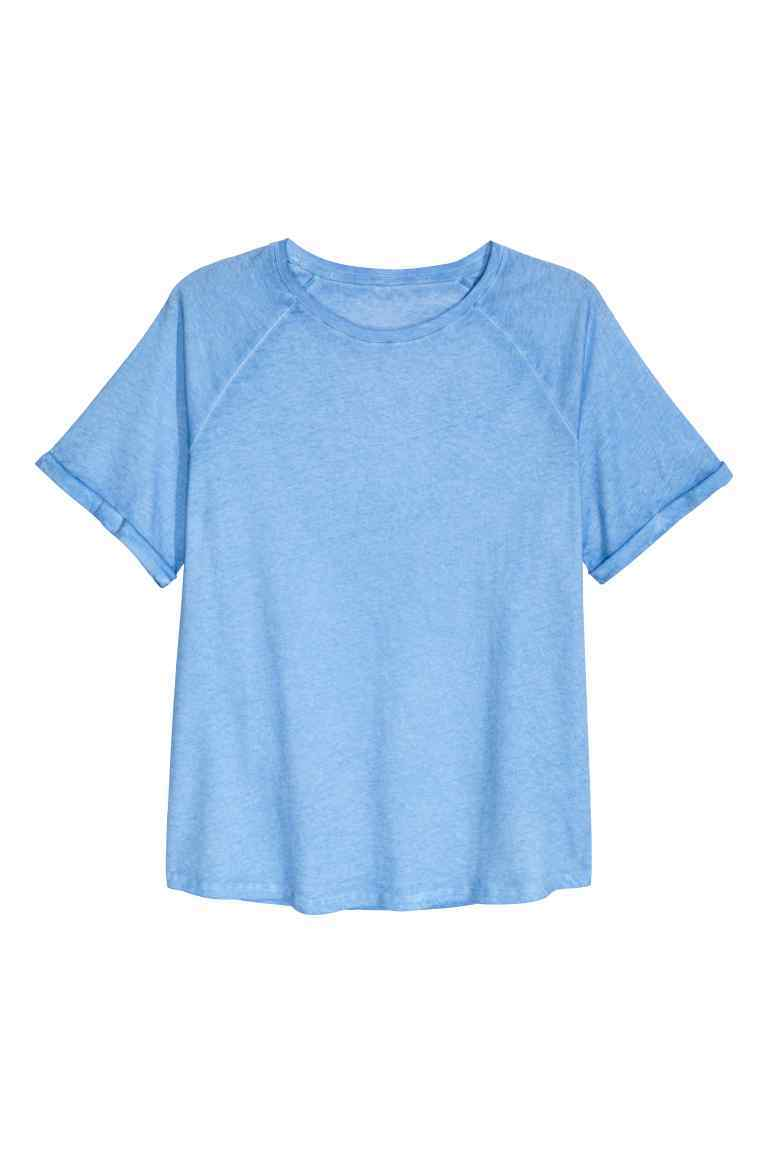 + Short Sleeved Top - neckline: round neck; pattern: plain; style: t-shirt; predominant colour: pale blue; occasions: casual, creative work; length: standard; fibres: cotton - 100%; fit: straight cut; sleeve length: short sleeve; sleeve style: standard; pattern type: fabric; texture group: jersey - stretchy/drapey; season: a/w 2016