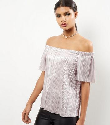 Shell Pink Foil Pleated Bardot Neck Top - neckline: off the shoulder; pattern: plain; predominant colour: silver; occasions: evening; length: standard; style: top; fibres: polyester/polyamide - 100%; fit: body skimming; sleeve length: short sleeve; sleeve style: standard; pattern type: fabric; texture group: jersey - stretchy/drapey; season: a/w 2016