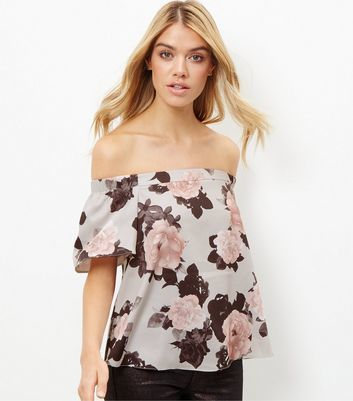 Blue Floral Print Bardot Neck Top - neckline: off the shoulder; secondary colour: blush; predominant colour: light grey; occasions: casual; length: standard; style: top; fibres: polyester/polyamide - stretch; fit: loose; sleeve length: short sleeve; sleeve style: standard; pattern type: fabric; pattern: florals; texture group: jersey - stretchy/drapey; pattern size: big & busy (top); multicoloured: multicoloured; season: a/w 2016; wardrobe: highlight