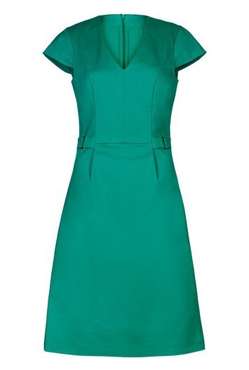Tall Clean Sharp V Neck Dress At - style: shift; length: below the knee; neckline: v-neck; sleeve style: capped; fit: tailored/fitted; pattern: plain; waist detail: belted waist/tie at waist/drawstring; predominant colour: emerald green; occasions: evening, work; fibres: cotton - stretch; sleeve length: short sleeve; pattern type: fabric; texture group: woven light midweight; season: a/w 2016; wardrobe: highlight