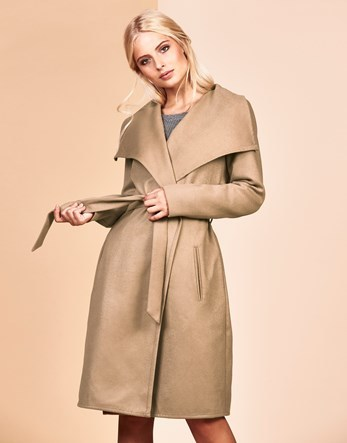 Robe Coat - pattern: plain; collar: wide lapels; length: on the knee; style: wrap around; fit: slim fit; predominant colour: camel; occasions: casual; fibres: polyester/polyamide - stretch; waist detail: belted waist/tie at waist/drawstring; sleeve length: long sleeve; sleeve style: standard; collar break: medium; pattern type: fabric; texture group: woven bulky/heavy; wardrobe: basic; season: a/w 2016