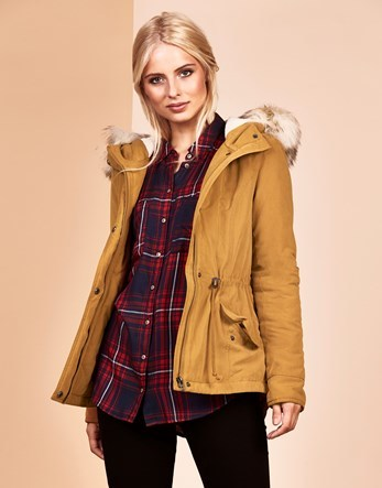Short Parka - pattern: plain; length: standard; collar: funnel; fit: loose; style: parka; back detail: hood; predominant colour: mustard; occasions: casual; fibres: polyester/polyamide - mix; waist detail: belted waist/tie at waist/drawstring; sleeve length: long sleeve; sleeve style: standard; texture group: technical outdoor fabrics; collar break: high; pattern type: fabric; pattern size: light/subtle; embellishment: fur; season: a/w 2016