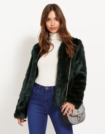 Collarless Faux Fur Jacket - pattern: plain; collar: round collar/collarless; style: boxy; predominant colour: dark green; occasions: casual, evening, creative work; fit: straight cut (boxy); fibres: acrylic - 100%; sleeve length: long sleeve; sleeve style: standard; texture group: fur; collar break: high; pattern type: fabric; length: cropped; season: a/w 2016; wardrobe: highlight
