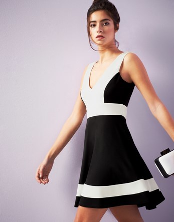 Skater Dress - neckline: v-neck; sleeve style: sleeveless; secondary colour: white; predominant colour: black; occasions: evening; length: just above the knee; fit: fitted at waist & bust; style: fit & flare; fibres: polyester/polyamide - stretch; sleeve length: sleeveless; pattern type: fabric; pattern: colourblock; texture group: jersey - stretchy/drapey; multicoloured: multicoloured; season: a/w 2016; wardrobe: event