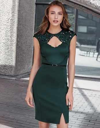 Cutout Belted Boydcon Dress - sleeve style: capped; fit: tight; pattern: plain; style: bodycon; waist detail: belted waist/tie at waist/drawstring; predominant colour: dark green; occasions: evening; length: just above the knee; neckline: peep hole neckline; fibres: polyester/polyamide - stretch; sleeve length: short sleeve; texture group: jersey - clingy; pattern type: fabric; season: a/w 2016; wardrobe: event