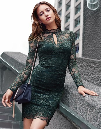 Keyhole Bodycon Dress - fit: tight; pattern: plain; style: bodycon; predominant colour: dark green; occasions: evening; length: just above the knee; neckline: peep hole neckline; fibres: polyester/polyamide - stretch; sleeve length: long sleeve; sleeve style: standard; texture group: lace; pattern type: fabric; season: a/w 2016; wardrobe: event