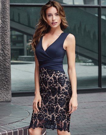 Wrap Lace Midi Dress - neckline: v-neck; fit: tight; sleeve style: sleeveless; style: bodycon; predominant colour: navy; occasions: evening; length: on the knee; fibres: polyester/polyamide - stretch; sleeve length: sleeveless; texture group: jersey - clingy; pattern type: fabric; pattern: patterned/print; embellishment: lace; season: a/w 2016; wardrobe: event