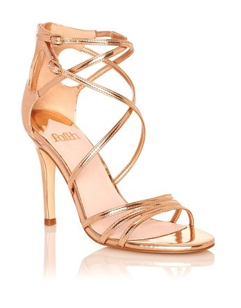 Strappy Metallic Heeled Sandals - predominant colour: gold; occasions: evening, occasion; material: faux leather; heel height: high; heel: stiletto; toe: open toe/peeptoe; style: strappy; finish: metallic; pattern: plain; season: a/w 2016; wardrobe: event
