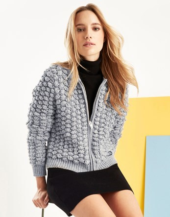 Bobble Stitch Bomber Jacket - pattern: plain; collar: round collar/collarless; fit: loose; style: bomber; predominant colour: light grey; occasions: casual; length: standard; fibres: acrylic - mix; sleeve length: long sleeve; sleeve style: standard; texture group: knits/crochet; collar break: high; pattern type: fabric; season: a/w 2016