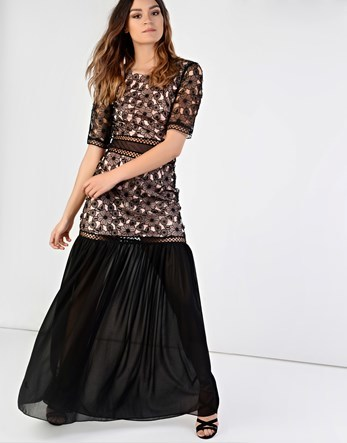 Floral Maxi Dress - style: maxi dress; secondary colour: white; predominant colour: black; occasions: evening; length: floor length; fit: body skimming; fibres: polyester/polyamide - 100%; neckline: crew; sleeve length: short sleeve; sleeve style: standard; pattern type: fabric; pattern: patterned/print; texture group: other - light to midweight; multicoloured: multicoloured; season: a/w 2016; wardrobe: event