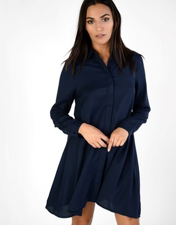 Swing Shirt Dress - style: shirt; neckline: shirt collar/peter pan/zip with opening; fit: loose; pattern: plain; predominant colour: navy; occasions: casual; length: just above the knee; fibres: polyester/polyamide - 100%; sleeve length: long sleeve; sleeve style: standard; pattern type: fabric; texture group: woven light midweight; wardrobe: basic; season: a/w 2016