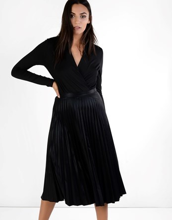 Pleated Midi Skirt - length: below the knee; pattern: plain; fit: loose/voluminous; style: pleated; waist: high rise; predominant colour: black; occasions: work, occasion; fibres: polyester/polyamide - 100%; hip detail: structured pleats at hip; texture group: structured shiny - satin/tafetta/silk etc.; pattern type: fabric; wardrobe: basic; season: a/w 2016